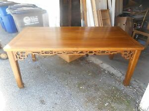 Antique Vintage Authentic Asian Hand Carved Elm Pierced Lattice Dining Table