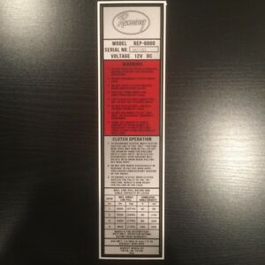 Ramsey Winch Rep6000 Load Chart Decal