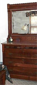 Antique Eastlake Bedroom Set Late 1800s Bed Dresser W Mirror Excellent