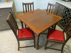 Antique English Oak Drawleaf Pub Table With Four Chairs