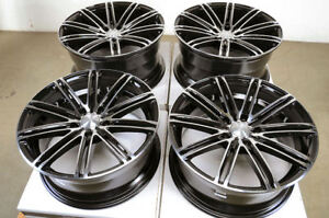 18 5x114 3 Staggered Black Wheels Fits Mustang 350z 370z G35 G37 Isf 5 Lug Rims