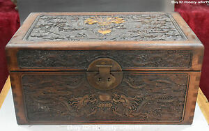19 Chinese Huanghuali Wood Gilt Yellow Pear Ancient Dragon Chest Box Case Statue