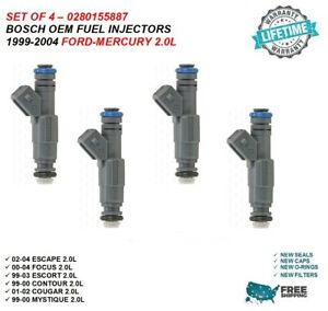 Bosch Oem Fuel Injectors 4x For 2000 2004 Ford Focus 2 0l 0280155887