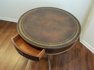 Vintage Round Leather Top Inlay Mahogany Drum Table 1 000 Free Shipping