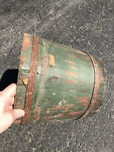 Antique Wooden Sap Bucket Old Paint Green And White