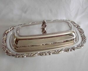 Vintage Oneida Silversmiths Silverplate Covered Butter Dish Glass Liner Georgian