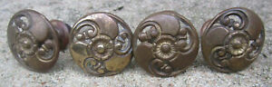 Lot Of 4 Antique Furniture Hardware Knob Style Drawer Handle Pulls Brass Floral