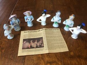 Lot 7 Antique Japanese Pin Cushion Dolls 1920 S Victorian Half Dolls Porcelain