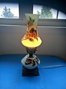 Vintage Antique Hurricane Flower Table Lamp Electrified