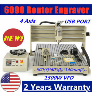 1500w Usb 6090 Router Engraving Machine Engraver Metal Milling Ball Screw 4 Axis