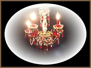 Vintage Brass Crystal Chandelier Ruby Red Accents Gorgeous Ceiling Light Lqqk