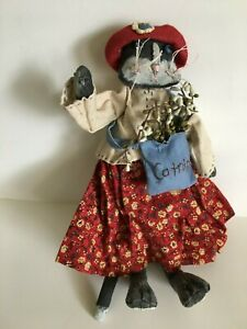 Primitive Cat Doll With Catnip Bag Folk Art Red Dress And Hat