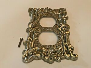 Switch Plate Cover Shabby Chic Single Antique Brass American Tack Gold Tint