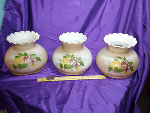 Oil Lamp Or Floor Tension Light Pole Shades Hand Painted W Roses Ruffle Top 1