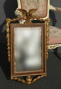 Antique Federal Style Gold Wall Mantle Mirror W Eagle Motif French Louis Xvi