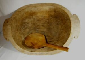 Antique 20 Wooden Treen Bread Dough Bowl Butter Paddle Primitive Trencher