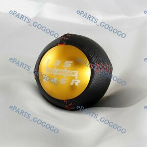Leather Shift Knob 6 Speed For Honda Crz S2000 Fa5 Fg2 Si Accord Mugen Pvc Gold