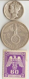 3 Silver Ww2 Us And German Coins Stamps