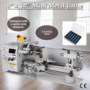 Precision Mini Metal Lathe Metalworking Diy Processing Variable Speed 8 x 14