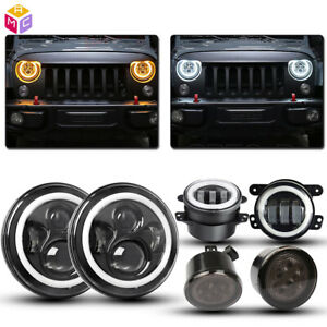 For Jeep Wrangler Jk 7 Halo Led Headlights 4 Fog Light turn Signal Combo Kit