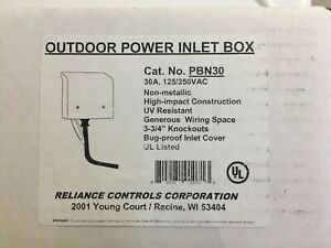 Reliance 30 amp Non metallic Power Inlet Box Outdoor Generator Rated Plug in