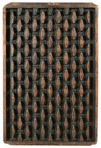 Antique Old Teak Wood Wall Carved Plaque Relief Printing Panel 26 X 40