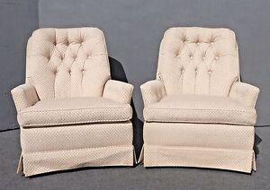 Pair Vintage Ethan Allen Mid Century Off White Tufted Accent Chairs
