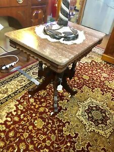Antique Victorian Walnut Marble Top Parlor Table W Heavily Carved Base 1860 S