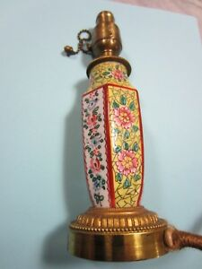 French Gilt Bronze And Chinese Famille Porcelain Bedroom Boudoir Lamp 1920 S