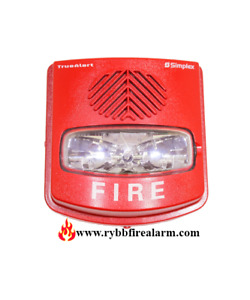 New Simplex 4906 9143 A v And V o Weatherproof Wall Red Horn Strobe P n 0743812