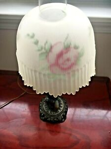 Reverse Painted Pink Roses Ribbed Lamp Shades And Bronze Art Base