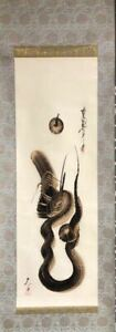 Japanese Painting Hanging Scroll Japan Dragon Snake Antique Vintage Picture D190