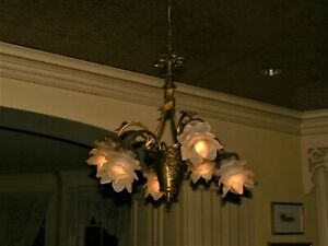 Antique French Bronze 6 Candle Chandelier Hand Blown Crystal Rose Shades