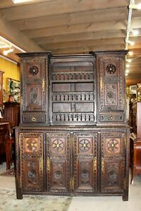 French Antique Carved Oak 6 Door Brittany Buffet Bar Hutch Cabinet Furniture