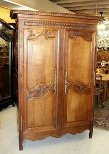 French Antique Oak Armoire 3 Shelf Cabinet 18th Century Bedroom Furniture