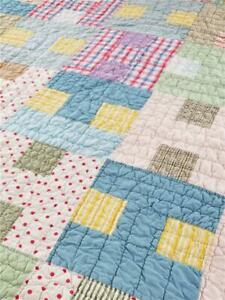 Great Vintage Quilt 9 Nine Patch Variation Hand Stitched