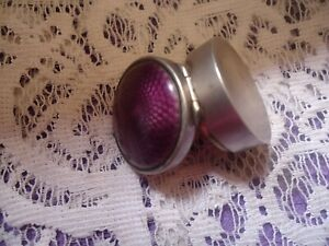 Antique Guilloche Austrian Sterling Silver Enamal Purple Pillbox Marked 12 936