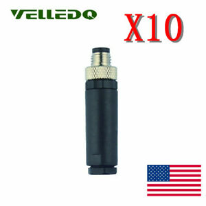10pcs M8 4pin Male Sensor Field wireable Connector Industrial Plug 4 pole Us