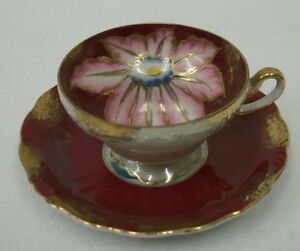Royal Sealy China Hand Painted Iridescent Floral Cup And Saucer Set