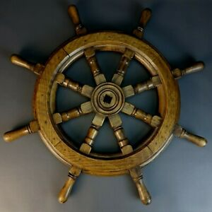 26 Wheel Wooden Steering Nautical Vintage Boat Ship Collectible Decor Antique