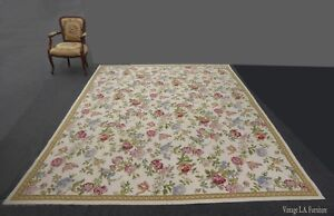 Vintage French Provincial Needlepoint Tapestry Off White Floral Area Rug 10 X8