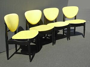 Set Of Four Vintage Mid Century Modern Yellow Black Accent Chairs
