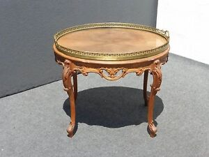 Vintage French Provincial Carved Wood Coffee Table End Table W Brass Rim Top