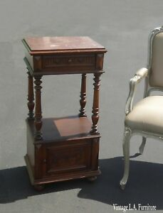 Antique Federal Style Marble Top Nightstand Side Table W Storage As Is