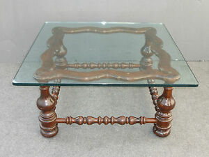 Large 40 X 40 Vintage Spanish Style Turned Wood Base Coffee Table Glass Top