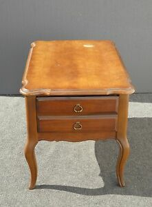 Vintage Barker Bros French Country Cottage End Table Nightstand Brass Pulls