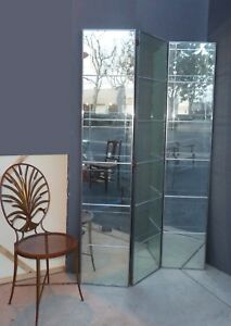 Stunning Mid Century Modern Art Deco Three Panel Aged Mirrored Room Divider