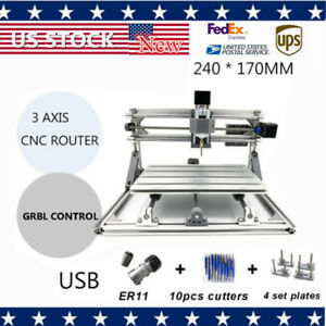 Cnc 2417 Mini Diy 3axis Router Engraver Desktop Milling Carving Machine Wood New