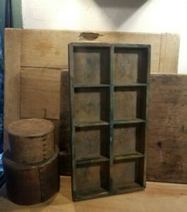 Primitive Antique Wood Box Or Tray Early To Mid 1900 S Old Green Paint