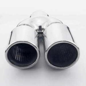2 25 Inlet Twin Exhaust Tailpipe Tip 3 Dual Out Staggered Bolt On Resonated